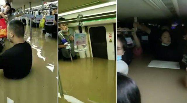 Dalin të tjera pamje të frikshme nga përmbytjet në Kinë / Shikoni se si treni mbushet me ujë, operacion për shpëtimin e udhëtarëve (VIDEO)
