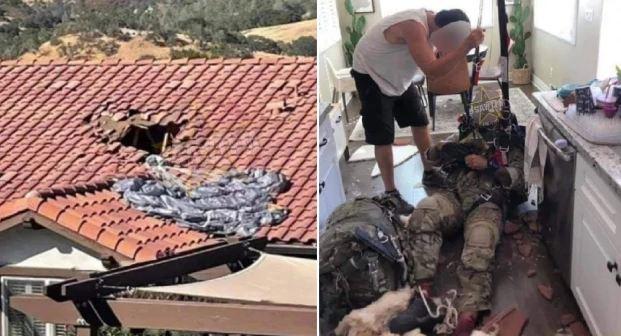 Nuk i hapej parashuta pasi u hodh nga avioni, ushtari bie në çatinë e shtëpisë dhe më pas brenda saj(FOTO)